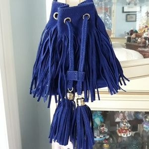 Adorably fun NWOT Bright royal blue tasseled purse